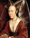 ca. 1500 copy of 1445-1450 Isabella of Portugal by Rogier van der Weyden studio (Getty Museum - Los Angeles, California USA)