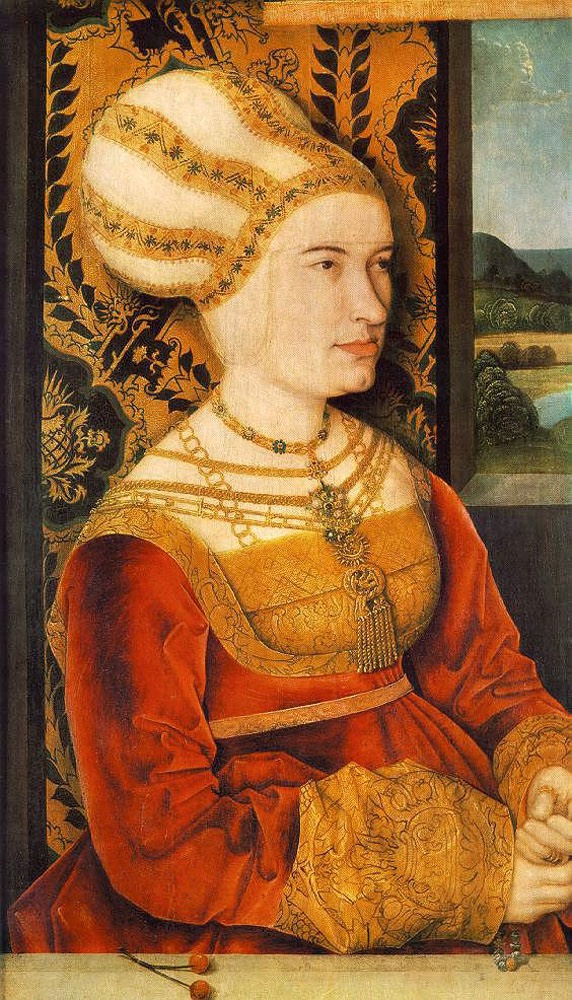 1515 (on or before) Sibylla von Freyberg, née Gossenbrot wearing Order of the Swan by Bernhard Strigel (Alte Pinakothek - München, Bayern, Germany) Wm