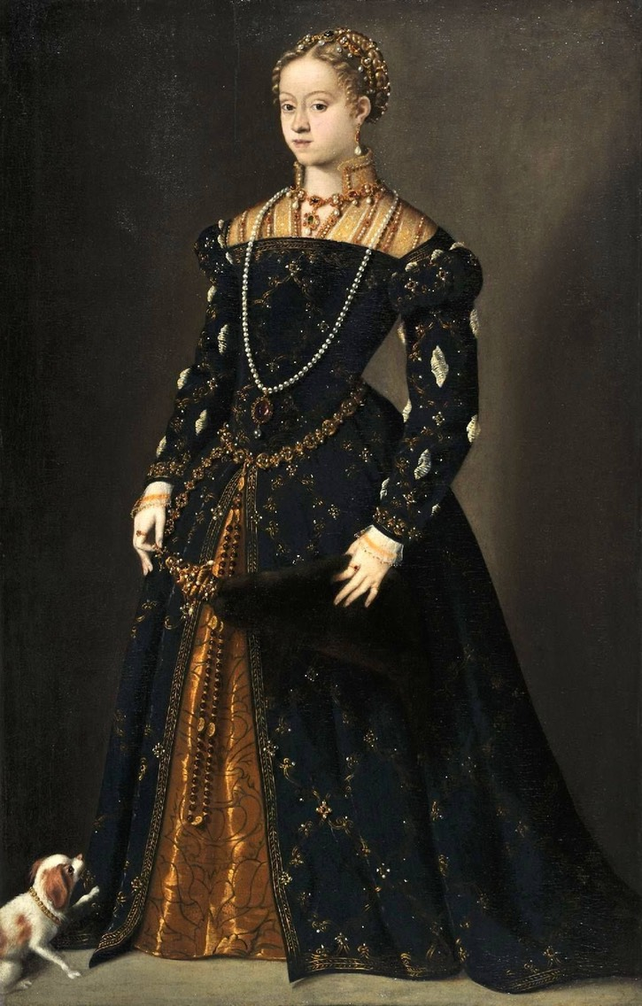 1540's Catherine of Austria (1533-1572) by Titian (location ?) From pinterest.com/chubbard7946/old-fashion/.jpg