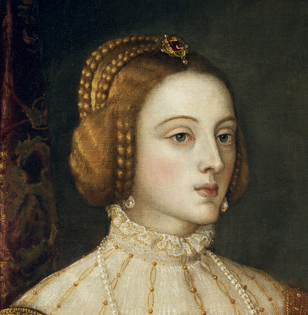 1548 Empress Isabel by Titian (Prado) coiffure and ruff ...