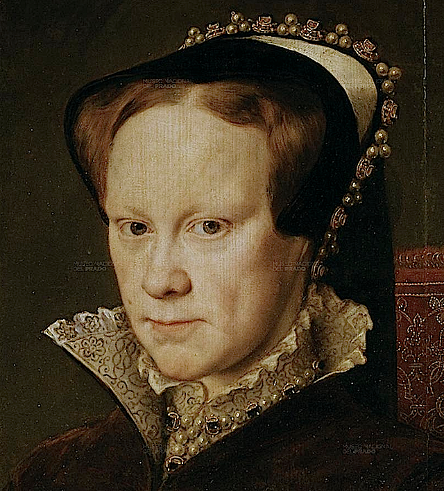 1554 Mary Tudor by Antonio Moro (Prado) headdress and necklace