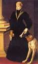 1557 Juana de Habsburgo with dog by Alonso Sánchez Coello (Kunsthistorisches Museum - Wien, Austria) the lost gallery trimmed removed smear
