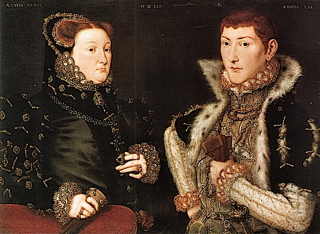 1559 Mary Nevill and Gregory Fiennes Baron Dacre by Hans Eworth Wm