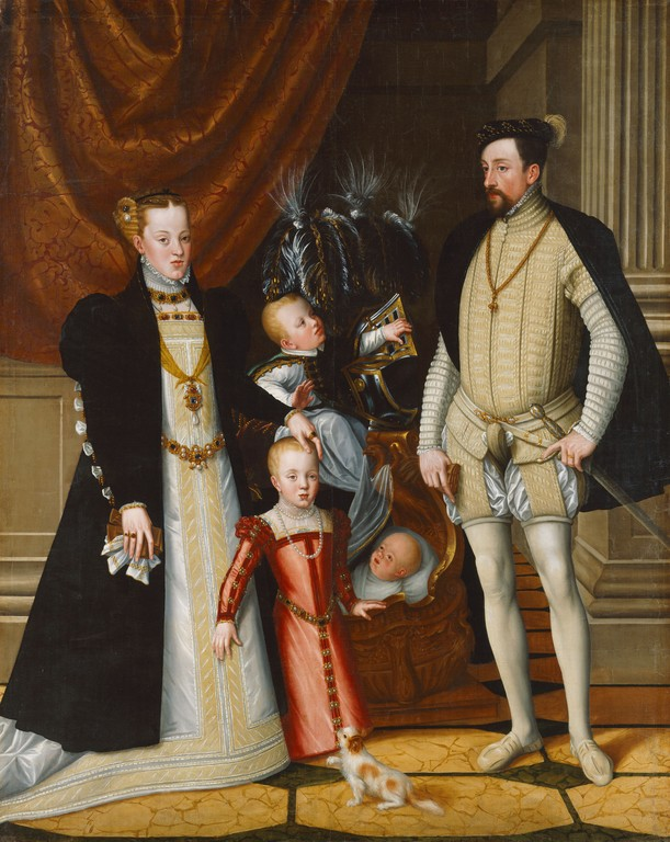 1563 Holy Roman Emperor Maximilian II of Austria and his wife Infanta Maria of Spain with their children by Giuseppe Arcimboldi (Schloß Ambras - Innsbruck Austria)