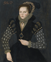 1569 Lady, in a Black Dress with Gold-trimmed and Jewelled Cap by Master of the Countess of Warwick (auctioned by Sotheby's)