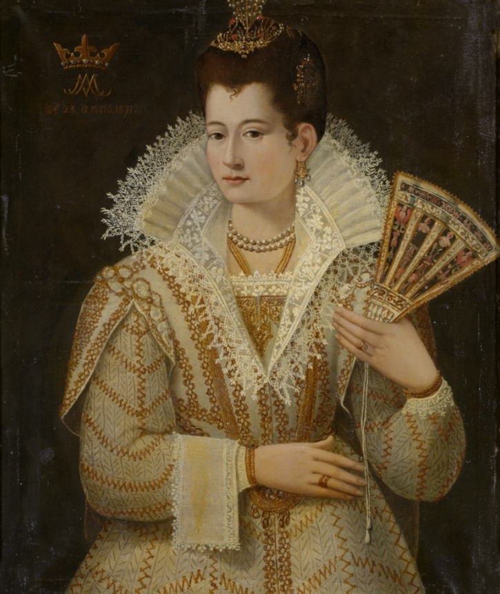 1571 Unknown Lady aged 23, called 'the Countess Miranda' by ? (Oxburgh Hall - King's Lynn, Norfolk) From nationaltrustcollections.org.uk/object/1210350 removed navigation marks