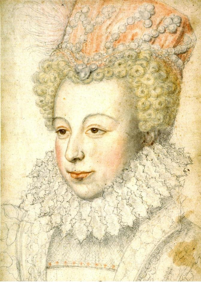 1573 Marguerite de Valois, Reine Margot, wearing cap decorated with pearls by François Clouet (location unknown to gogm) Wm