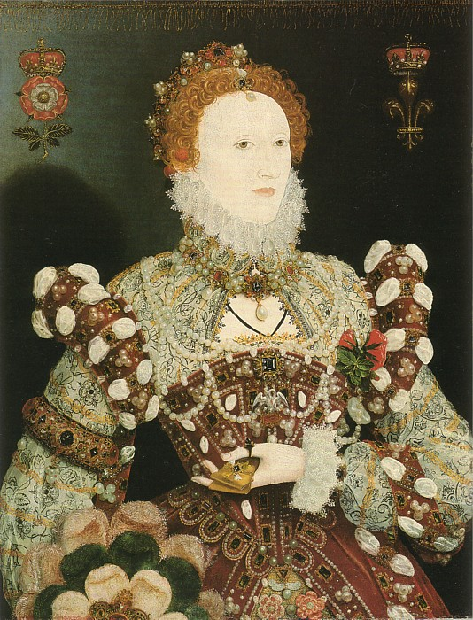 "1575 Elizabeth ""Pelican"" portrait also attributed to Hilliard (Walker Art Gallery, Liverpool)"