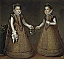 1575 Infantas Isabella Clara Eugenia and Catalina Micaela of Spain by Alonso Sánchez Coello (Prado)