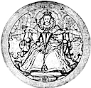 1584 (or earlier) Obverse side of the Great Seal of Ireland by Nicholas Hilliard (British Museum)