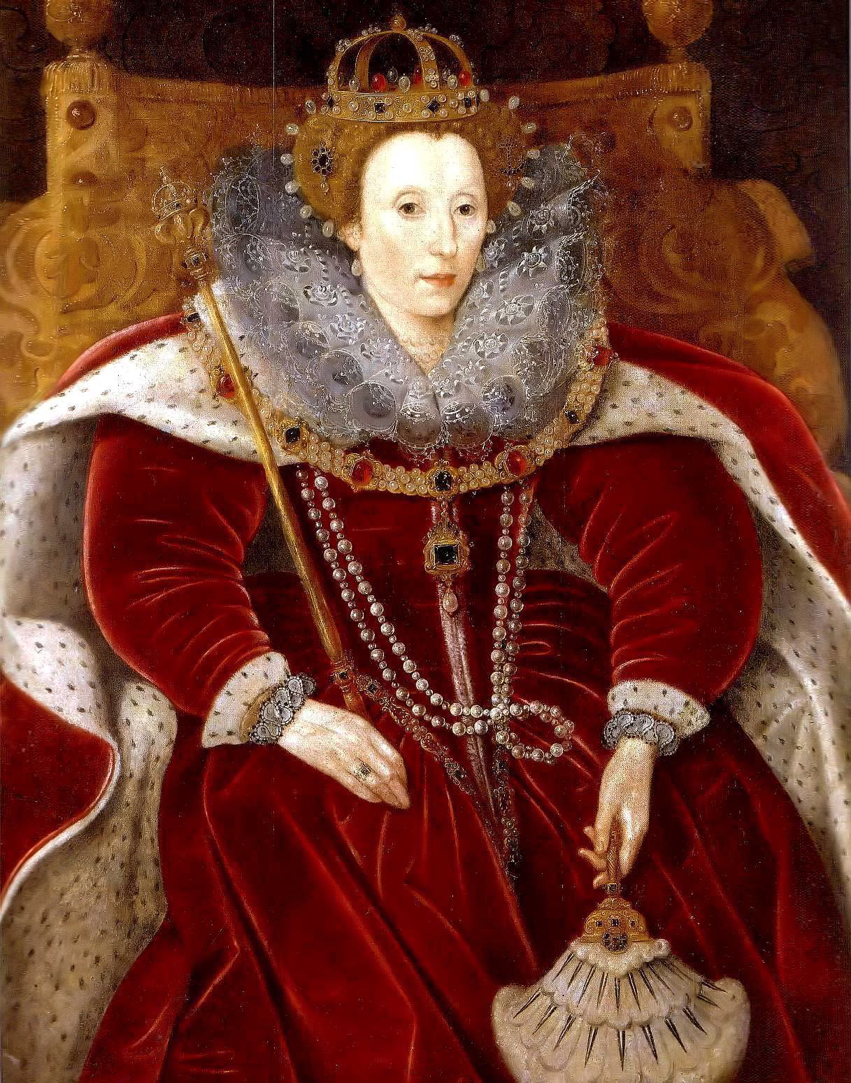 ca. 1585-1590 Elizabeth I in Parliament robes by ? (Helmingham Hall ... Young Queen Elizabeth 1 Dress