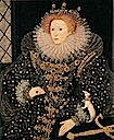 "1585 ""Ermine"" portrait by Nicholas Hilliard (Hatfield House, Hatfield UK)"