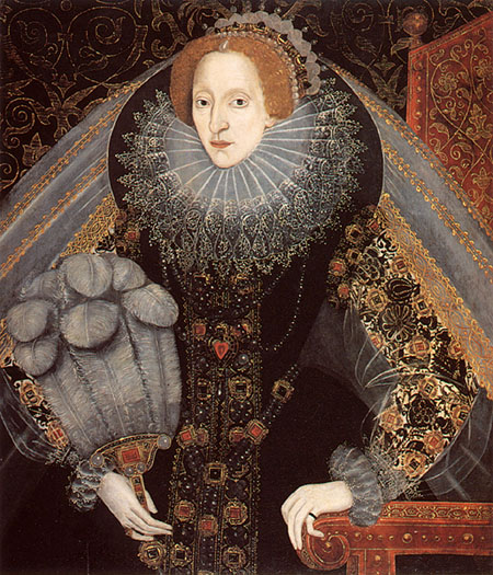 1585ca. Elizabeth I with a fan by unknown (National Portrait Gallery London)