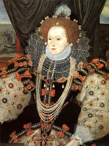 1588-1589ca. Elizabeth Armada portrait by George Gower (detail) (private collection)