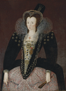 1590s Lady, traditionally identified as Lady Denman in a black velvet dress with an embroidered bodice and lace apron, lace ruff, jewelled headdress, and hat, holding fan by circle of Marcus Gheeraerts the Younger (auctioned by Christie's)