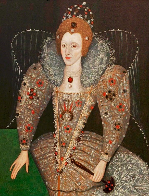 1592 Queen Elizabeth I 1533-1603 with a fan by ? (Compton Verney Art Gallry, Compton Verney House - Compton Verney, Warwickshire, UK) From bjws.blogspot.com/search?q=Elizabeth+I