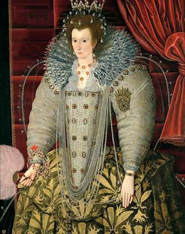 1592 Queen Elizabeth I by ? (location ?) From luminarium.org/renlit/elizaparham X 1.5