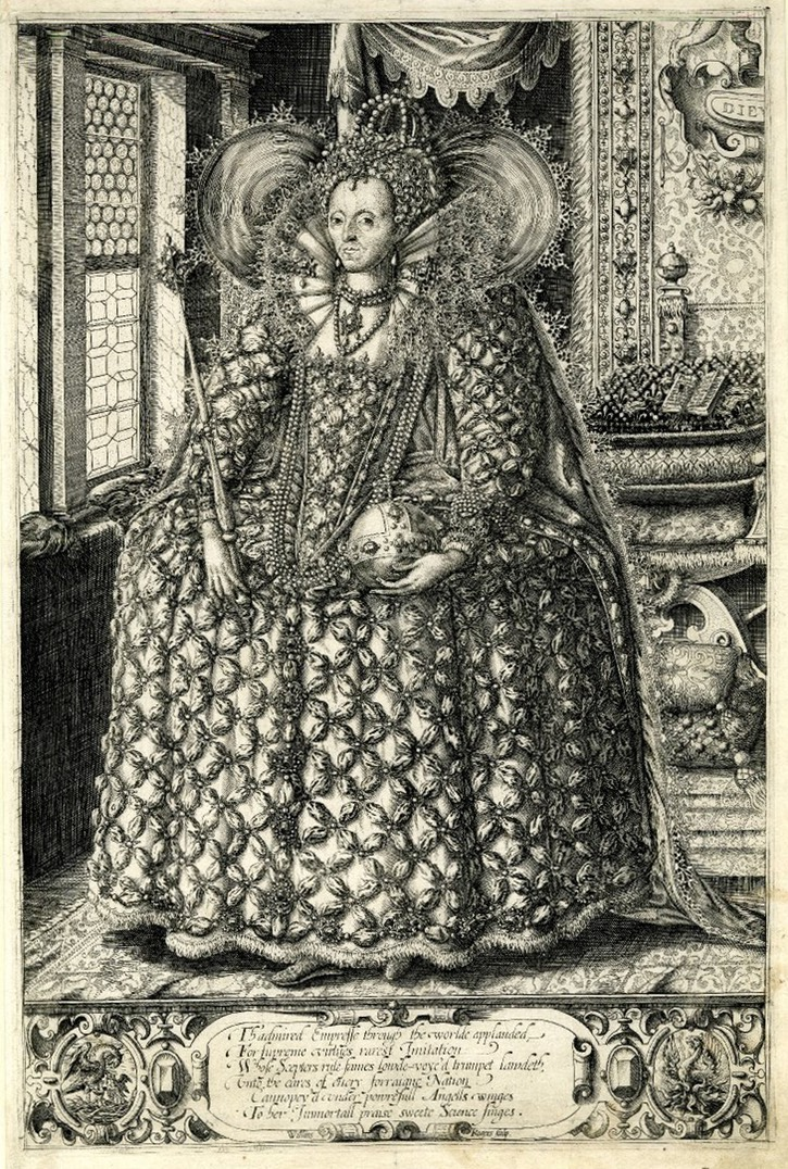 1595-1603 Queen Elizabeth holding orb and sceptre standing in a room with a latticed window by William Rogers (British Museum - London, UK) Wm