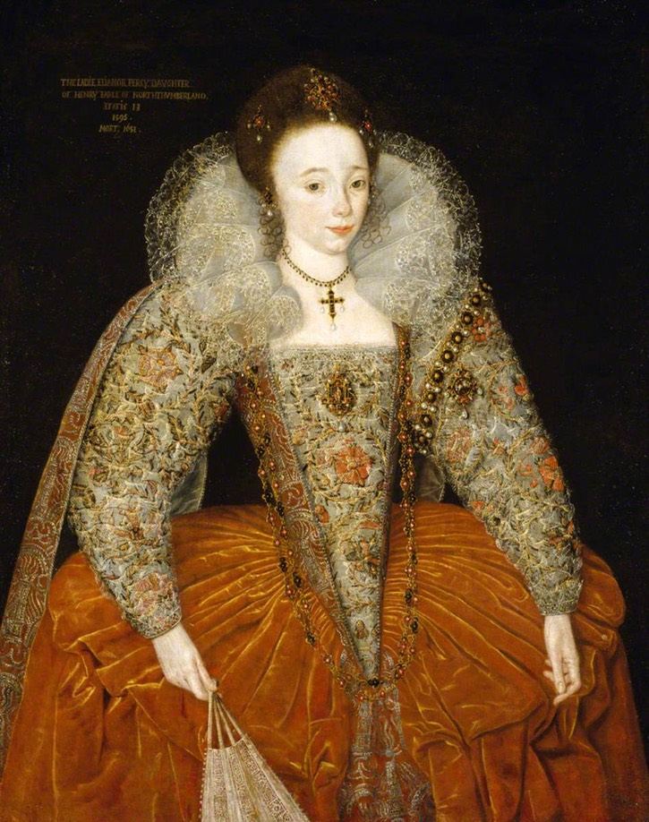 1595 Lady Eleanor Percy (1582:1583–1650), afterwards Lady Powis, age 13, by ? (Powis Castle - Welshpool, Powys, UK) From artuk.org