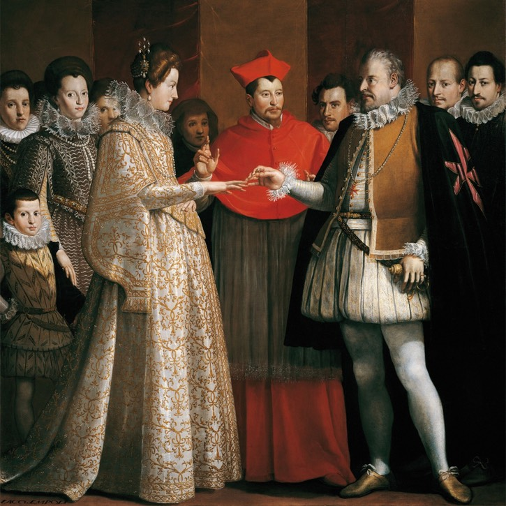 1600 Wedding of Maria de Medici and Henry IV of France by Jacopo Chimenti (Galleria degli Uffizi - Firenze, Toscana, Italy) From oldrags.tumblr.com/tagged/17th+century/page/5