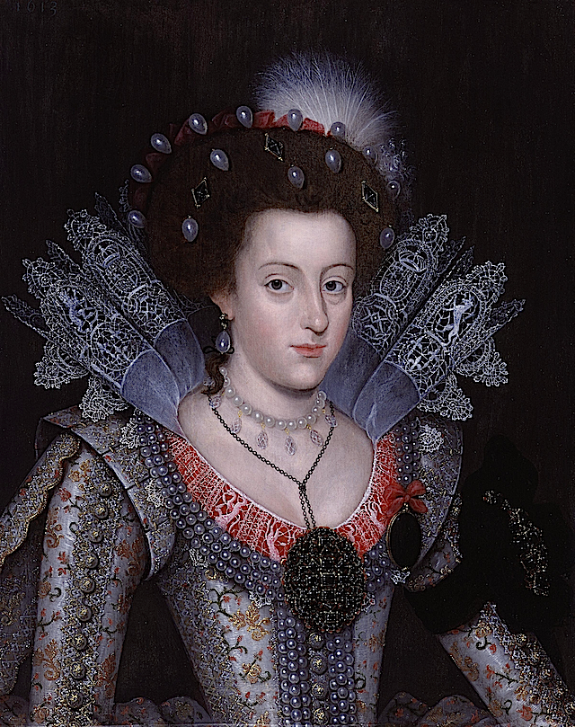 1613 Elizabeth Stuart portrait by ? (National Portrait Gallery, London) Wm