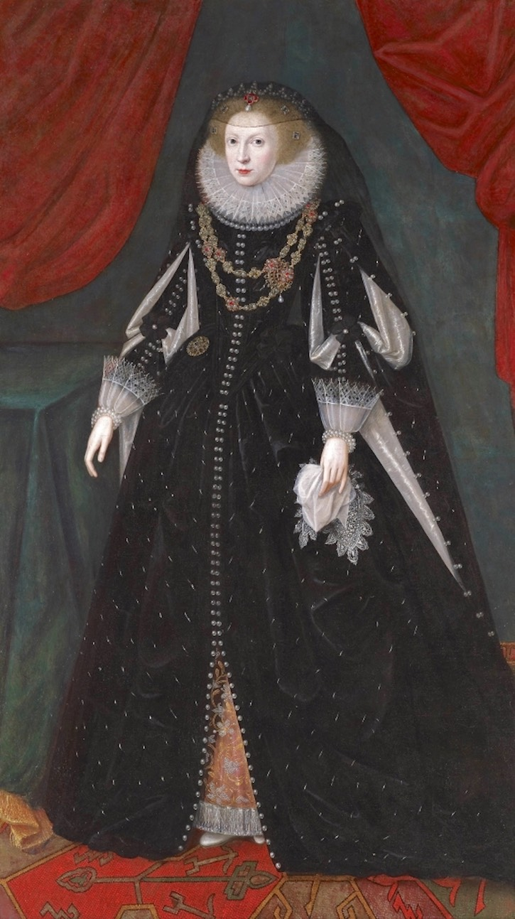 1615-1618 Lady Mary Beaumont Villiers, first Countess of Buckingham by Robert Peake the Elder (private collection) From internationalportraitgallery.blogspot.com:2016:12:retrato-de-la-1-condesa-de-buckingham.html?spref=pi X 1.5