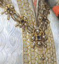 1616 copy of 1570 original Ana de Austria by Bartolomé González y Serrano (Prado) girdle diamonds, skirt jewel, and detail of fabric