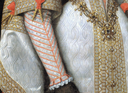 1616 copy of 1570 original Ana de Austria by Bartolomé González y Serrano (Prado) textile, cuffs, aglets, and girdle
