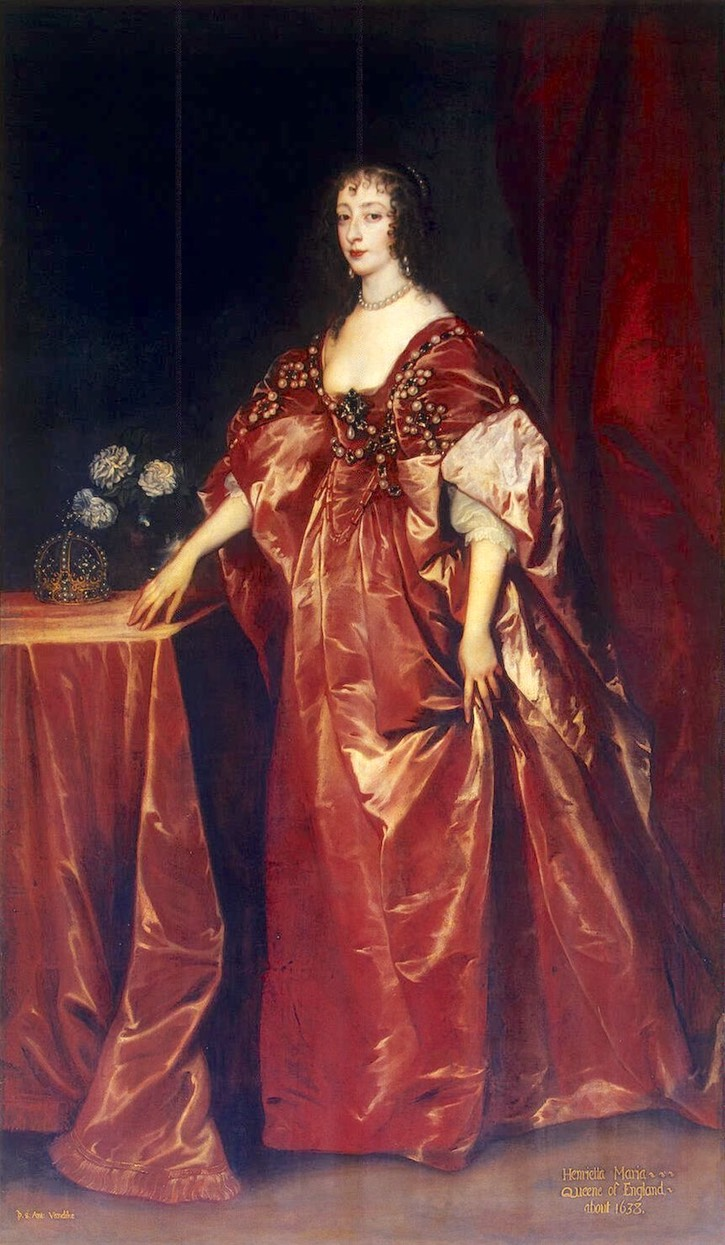 1638 Henrietta-Maria by van Dyck (State Hermitage Museum - St. Petersburg, Russia) From oceansbridge.com:paintings:museums:new-hermitage:Dyck Anthony van-ZZZ-Portrait of Queen Henrietta-Maria shadows inc. exp