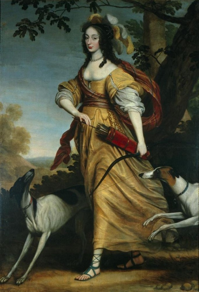 1643 Henrietta von Nassau in the image of Diana with her faithful hunting dogs, Syrius and Focion by Willem van Honthorst (Centraal Museum - Utrecht, Utrecht, Holland) From liveinternet.ru:community:lj costume history: