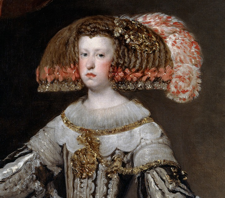 1652-1653 Mariana of Austria by Diego Rodriguez de Silva y Velazquez (Museo Nacional del Prado - Madrid, Spain) bodice ornament, bertha, ruff, headdress, and feathers
