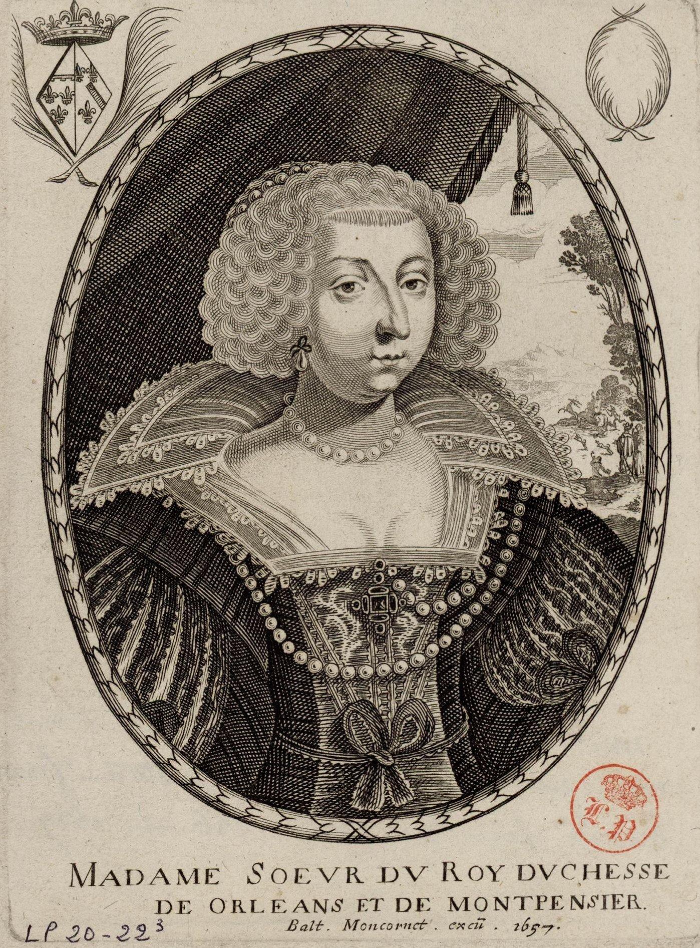 1657 Marie de Bourbon, Duchess of Orléans and Montpensier by Balthasar  Moncornet