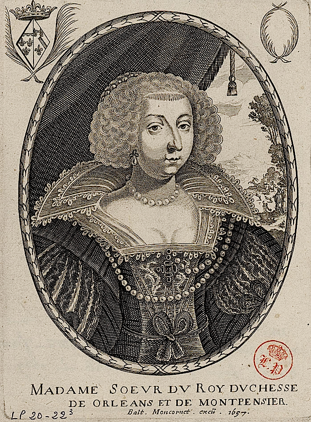 1657 Marie de Bourbon, Duchess of Orléans and Montpensier by Balthasar Moncornet
