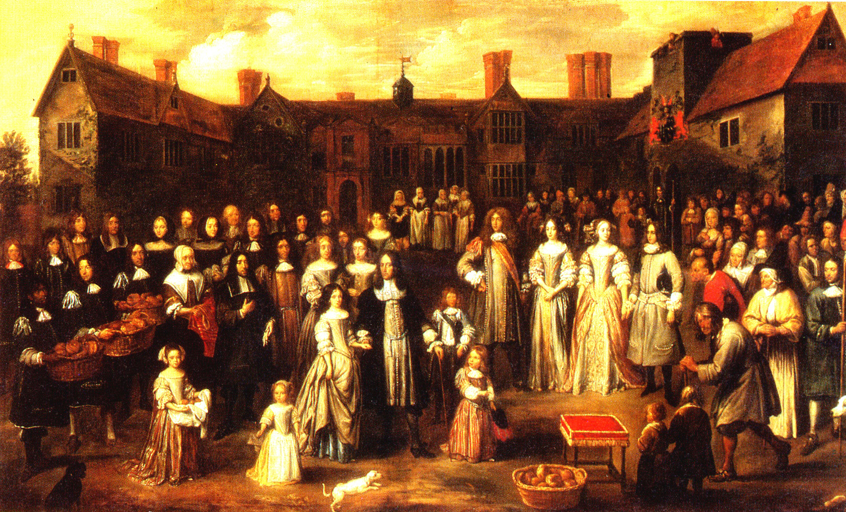 This painting shows how people really dressed for a public occasion  involving all classes in 1670. The nobility are in colorful dress while  many others wear ...