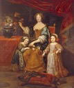 1672 Elisabeth-Charlotte of the Palatinate with her two-children - Élisabeth-Charlotte d'Orléans future Duchess of Lorraine and Philippe dOrléans future Regent and Duke of Orléans by Pierre Mignard (location ?) From thedreamstress.com/2011/07/.jpg