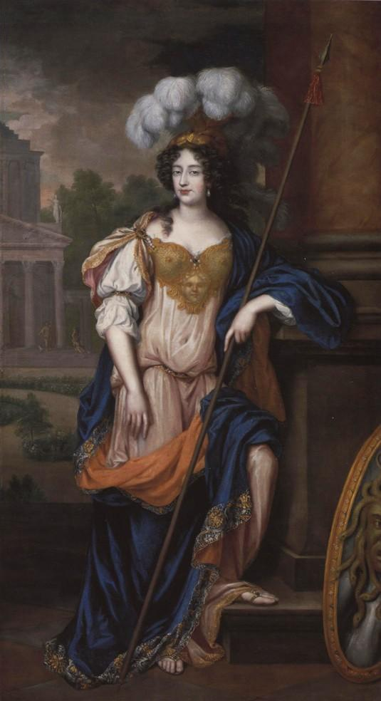 1675 Frances Theresa Stuart, Duchess of Richmond as Minerva by Henri Gascar (location ?) From jeannedepompadour.blogspot.no/2012/04/portraits-first-portraits-of.html fixed upper third of left edge