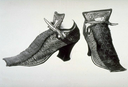 1680s Pair of women's tie shoes (Museum of London - London, UK) From collections.museumoflondon.org.uk/online/object/723792.html