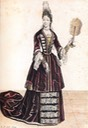1695 Color print of Teresa Korwin Gosiewska by Bonnart From jeannedepompadour.blogspot.fi:2013:03:costume-from-1690-1735.html X 1.5