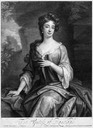 1699 Margaret Jones, Countess of Ranelagh, three-quarter length, sitting, wearing loose gown and robe and pearl earrings; landscape behind by John Smith after Sir Godfrey Kneller mezzotint (British Museum - London, UK) From museum's Web site) detint