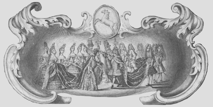 1701 Probable coronation scene from Sophia Carolina Regina Prussiae by Johann Georg Wolfgang (Österreichische Nationalbibliothek - Wien, Austria) From europeana.eu:portal:en:record:92062:BibliographicResource 1000126199648.html detint edited