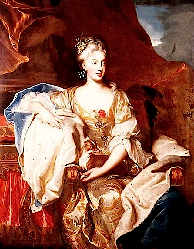 1705 Suzanne Henriette of Lorraine as Duchess of Mantua by Hyacinthe Rigaud (location unknown to gogm) darkened
