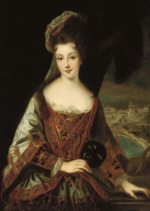 1712 Princess Louise Hippolyte of Monaco (1687-1731) by Jean-Baptiste Santerre studio (auctioned by Christie's) Wm