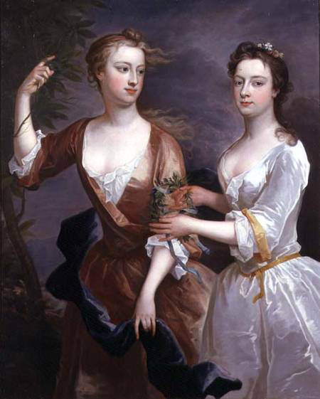 1716 Martha and Theresa Blount by Charles Jervas (private collection) bottom quarter of left edge fixed with Photoshop