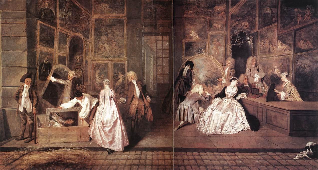 1720 L'Enseigne de Gersaint by Antoine Watteau (Schloß Charlottenburg,  Berlin Germany)