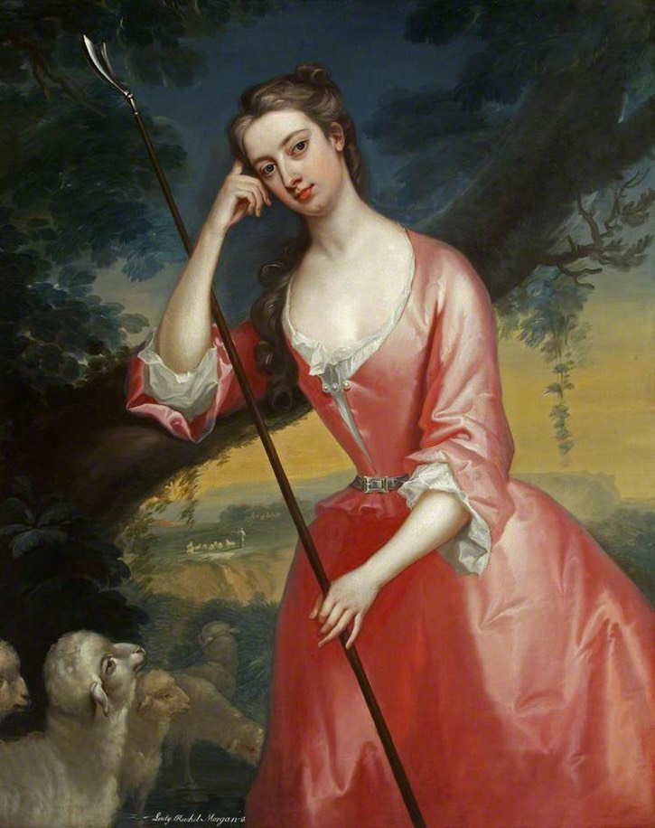 1725-1730 Lady Rachel Cavendish (1697–1780), Lady Morgan, as a Shepherdess by Charles Jervas (Tredegar House - Newport, Monmouthshire, UK) bbc.co