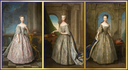 1728 Princess Amelia Sophia, Princess Royal Anne, and Princess Caroline Elizabeth by Philip Mercier (all three at the Hertford Magistrates' Court - Hertford, Hertfordshire, UK) From tumblr.com-search-18th+century size fixed