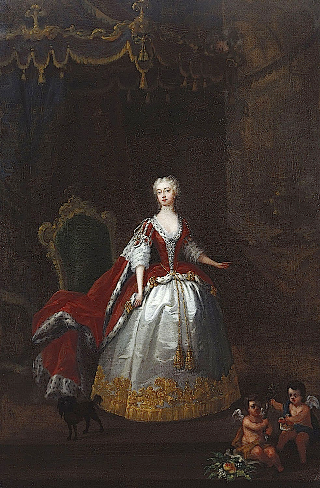 1736-1738 Augusta of Saxe-Gotha by William Hogarth (Royal Collection) fixed shiny crease lines with Photoshop Wm
