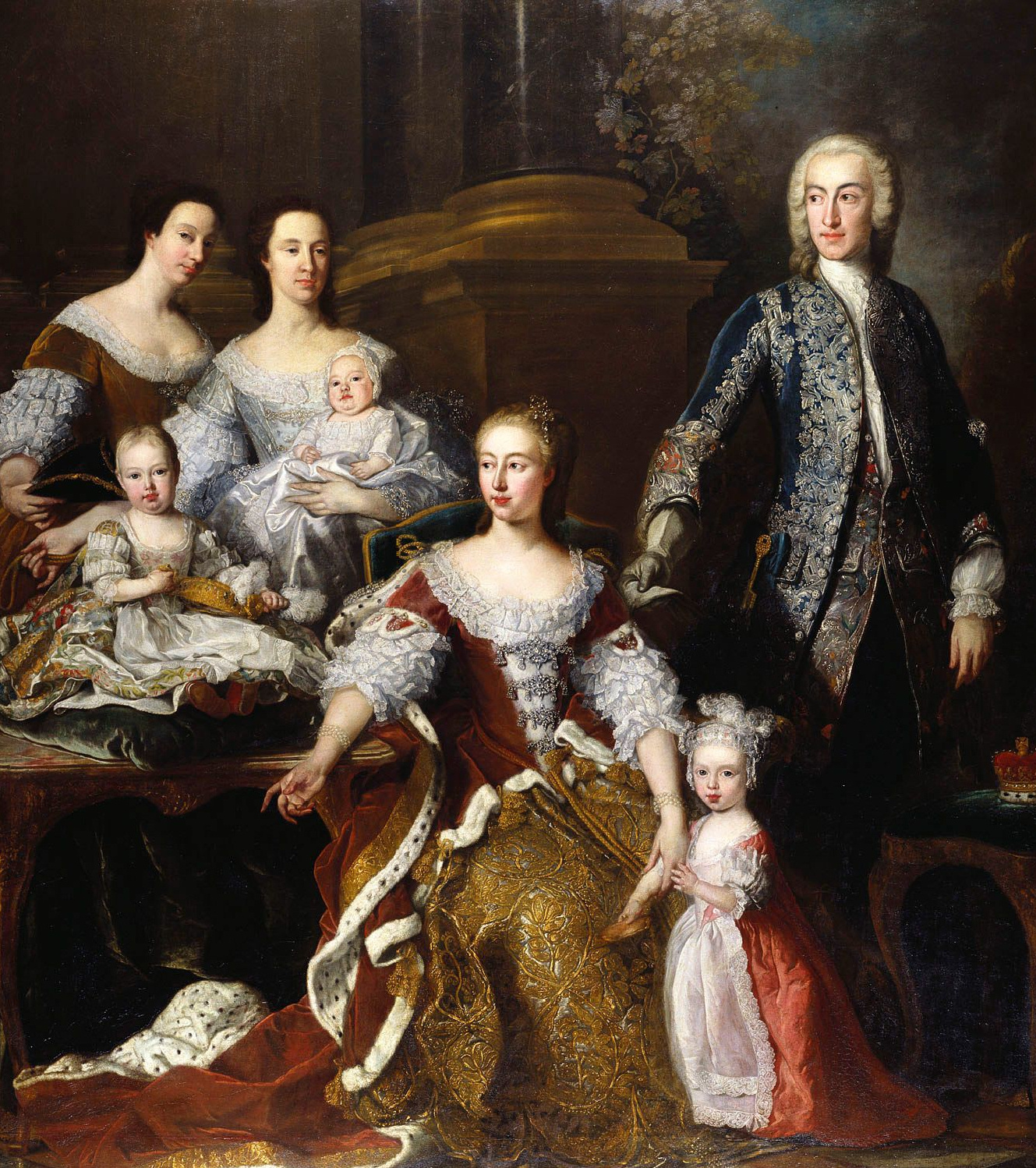 1739 Princess Augusta of Saxe Gotha with Family by Jean-Baptiste van Loo  (Royal Collection)