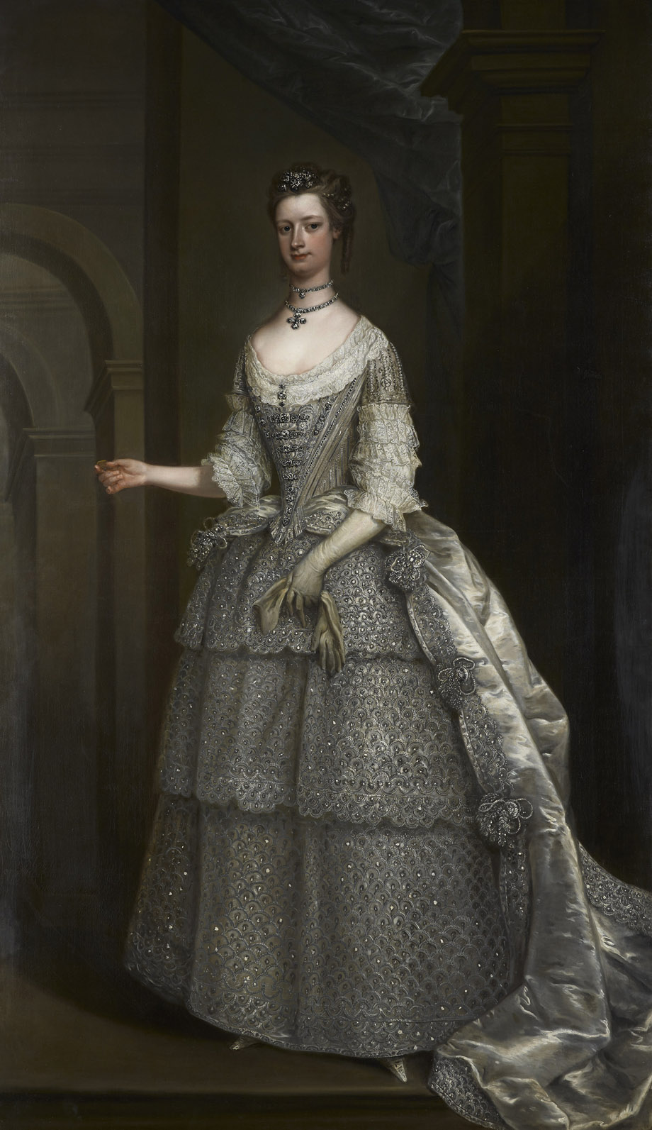 1743 lady frances montagu in bridesmaid dress for royal for Princess anne wedding dress