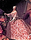 1745 or later Empress Maria Theresia standing wearing a lace dress probably by Martin van Meytens (Schloß Schoenbrunn, Wien)